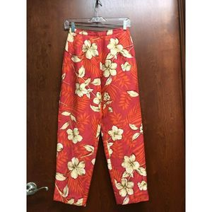 Talbots Red Capri Pant 2P Silk Linen Floral Lined